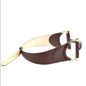 Gucci BROWN GRAIN LEATHER GOLD TONE HORSEBIT BELT